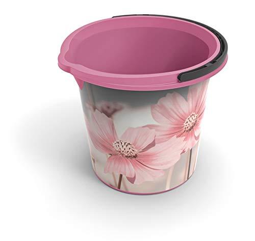 Rotho Vario Art Eimer 10 l, Kunststoff (PP), rosa mit Motiv 'Happy', 10 Liter / Durchmesser 29 cm