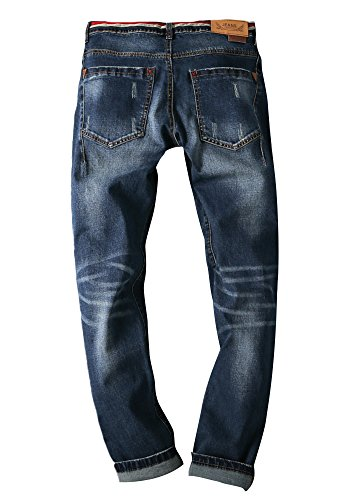insun Herren Casual groß und hoch Washed Twill Denim Jeans Blue 6907