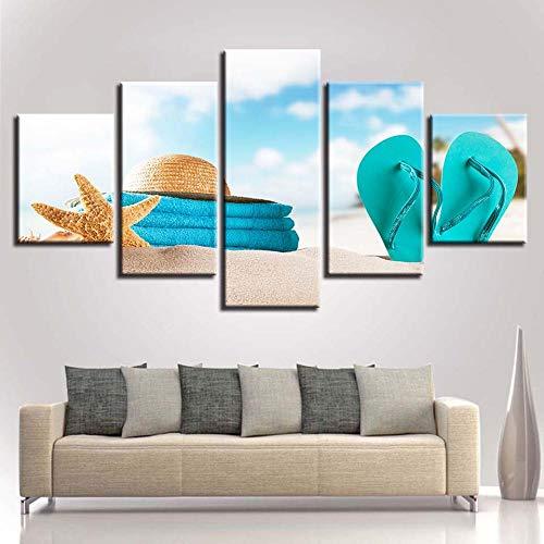 LIVELJ Arte,5 Pezzi Tela Stampa in Immagine Paesaggio Fotografia Decorativo Quadro Moderno Sospeso Murale Combinato Opera Darte HD Ufficio/Infradito Sea Star/Incorniciato