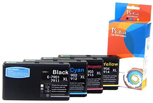 TS-Print Multi-pack Set di 4 cartucce d'inchiostro compatibili con Epson T7901-XL / T7911-XL 50ml + T7902-XL T7903-XL T7904-XL / T7912-XL T7913-XL T7914-XL ogni 25ml 79-XL BK/C/M/Y