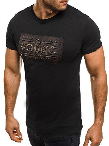 OZONEE Herren T-Shirt mit Motiv Kurzarm Rundhals Figurbetont J.STYLE SS023 Schwarz_JS-SS189