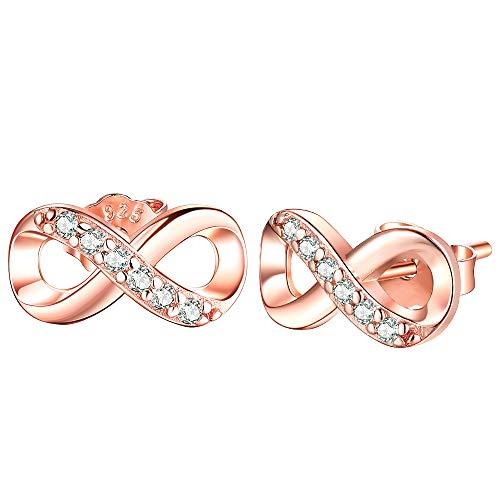 Unendlichkeit Ohrringe 925 Sterling Silber Ohrstecker Für immer Liebe Akzent Modeschmuck für Frauen Mädchen mit Geschenkbox (Rose Gold)