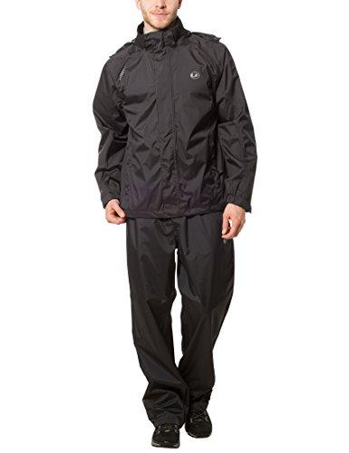 Ultrasport Set pantaloni e impermeabile uomo Harry - Tuta antipioggia da uomo con funzione traspirante - Completo con giacca impermeabile e pantalone, Nero, S