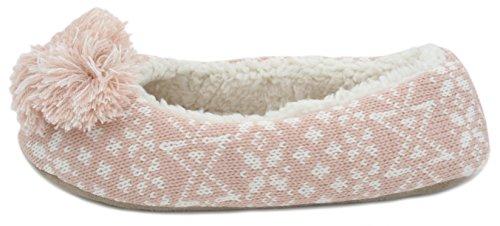 Pantofole da donna a maglia, stile ballerina, con pom pom Pink