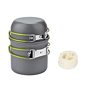 SAIKO 2–3persone campeggio pentole Outdoor Backpacking hiking Cooking picnic Bowl pot pan set portatile da campeggio attrezzatura, Green