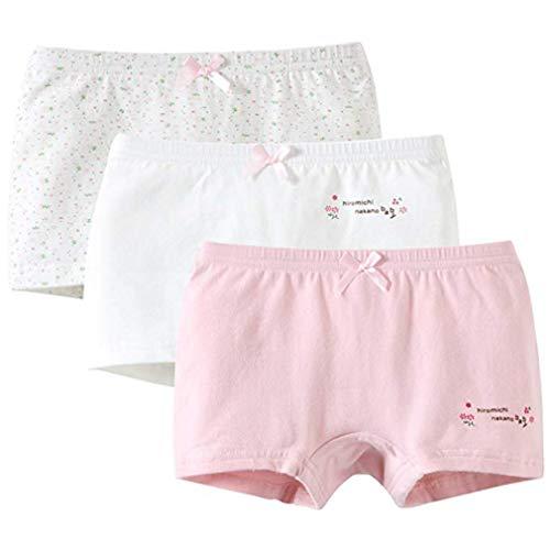 Zhongke Baby Girl Sous-vêtements Pur Coton Motif Enfant Mignon Pantalon Sous-Vêtements Doux Floral Noeud Papillon Pantalon (pack de 3)