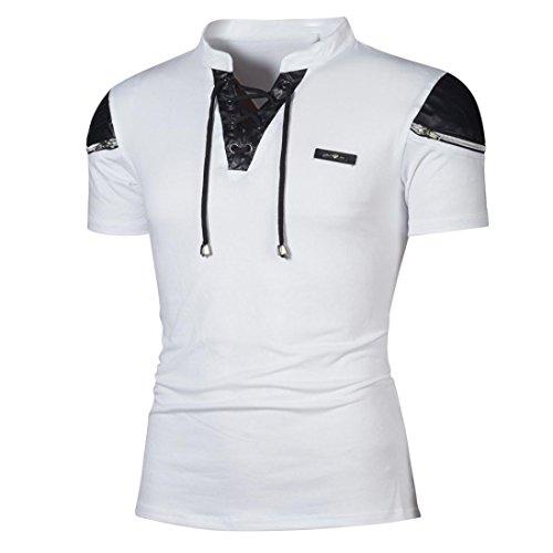 VEMOW Sommer Mode Persönlichkeit Männer Tägliche Casual Sport Business Dünne Patchwork Kurzarm T-Shirt Top Bluse Pullover Tees Pulli für Vatertag Geschenk(Weiß, EU-50/CN-M)