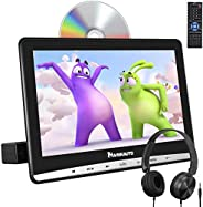 NAVISKAUTO 12 Inch Car DVD Player with Free Headphone Support Suction Drive, AV in/Out, Sync Screen, Region Free, USB/SD/TF