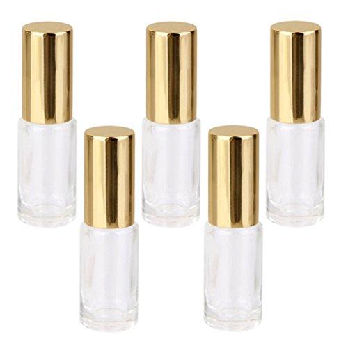 5Pcs 5ml Remplacement Bouteille de Parfum Verre Vide Roll-on Transparent Voyage
