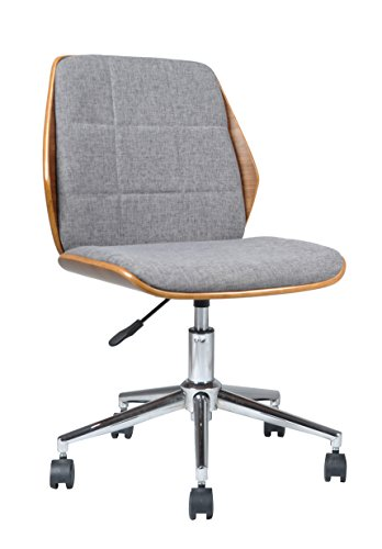 ASPECT Modern Padded Office Chair/Walnut Effect Wood, Grey Fabric Padded Seat and Chrome Base, Wood