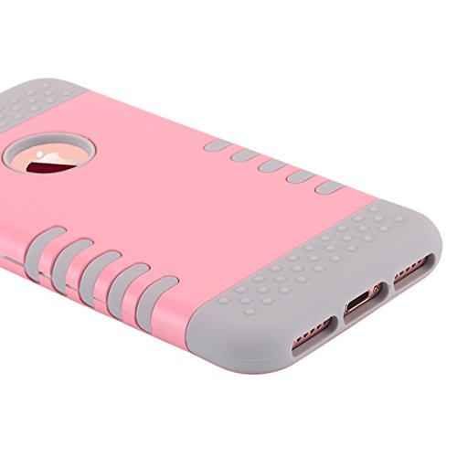 iPhone 7cellulare, iPhone 7Case, lontect 3Layer Hybrid Combo Silicone, morbida Interni plastica rigida Anti urti per cellulare borsa case cover per Apple iPhone 7 Rosa / Grigio