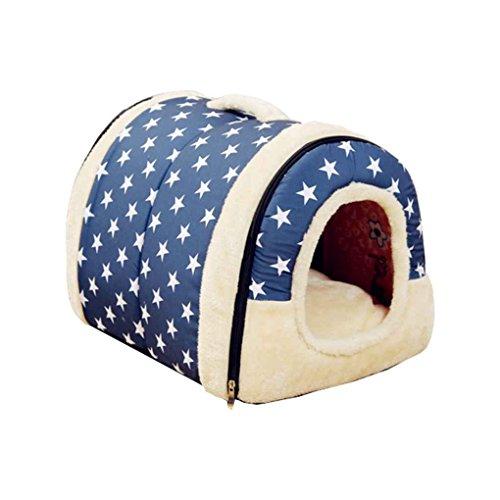 LUFA Hundehütte Zwinger Nest mit Matte Faltbare Haustier Hundebett Katze Bett Haus für kleine Mittelgroße Hunde blauer Hintergrund weißer Stern S