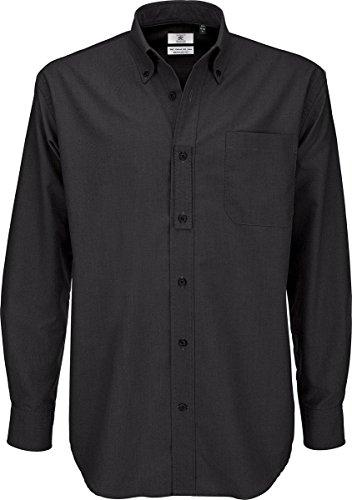B & C Oxford Smart Lange Ärmel Herren Klassische ausgestattet Formale Shirt Erwachsene Workwear Gr. 5XL, Schwarz - Schwarz (Shirt Ausgestattet Formale Klassische)