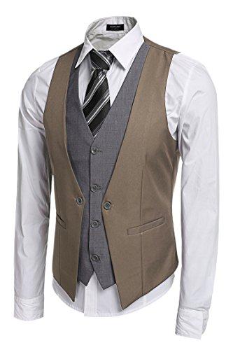 Burlady Anzugweste Herren V-Ausschnitt Ärmellose Westen Slim Fit Smoking Sakko Herrenweste Herrenanzug Anzug Business Hochzeit (EU 54(Hersteller:XL), 81-Khaki) -