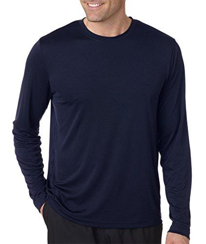 Hanes, maglietta a manica lunga Cool DRI con protezione UPF 50+, confezione da 2 1 Black / 1 Navy