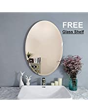 Creative Arts n Frames Exquisite Oval Frame Less Beveled Mirror for Dressing, Bedroom,Bathroom, Living Room (12x18)