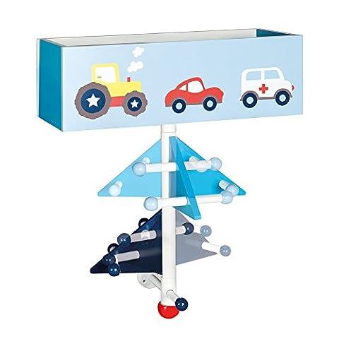 roba Kinder-Garderobe 'Rennfahrer' aus Holz, blau lackiert und bedruckt, zur Beferstigung an der Wand, mit 9 Haken und 2 Fächern