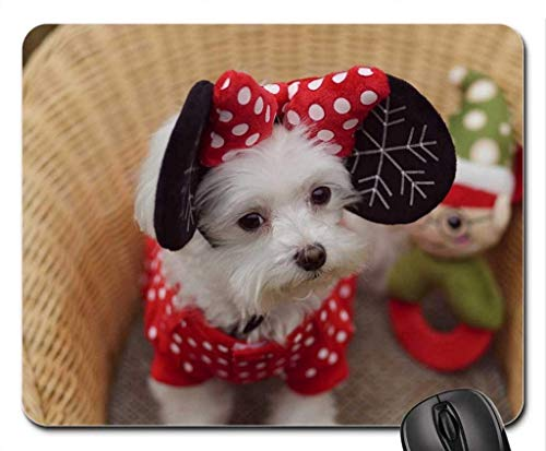 Ears red Bow Toy Minnie White Black Cute Basket Puppy Dog Christmas Mouse Pad, Mousepad (Dogs Mouse Pad) 250mm*300mm