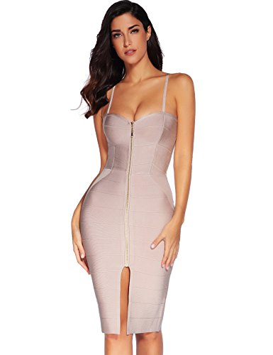 Meilun Les Femmes Bodycon Rayonne Sangle Robe Sans Manches. Beige front zip