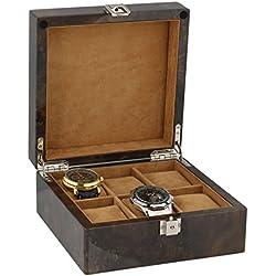 Armbanduhr Sammler Box für 6Handgelenk Uhren in dunkel Wurzelholz mit Deckel durch aevitas