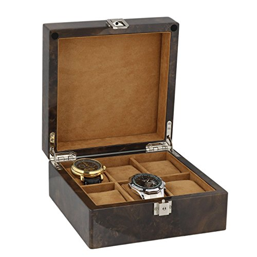 Watch Collectors Box for 6 Wrist Watches in Dark Burl Wood with Solid Lid by Aevitas