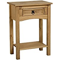 Semplice e classico corona, in legno di pino con 1cassetto tavolo consolle con ripiano, ha un aspetto caldo accogliente, ideale per piccoli spazi come un corridoio o di fronte a una finestra