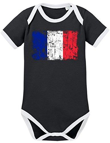 TSP Frankreich Vintage Flagge Fahne Kontrast Baby Body 80 ()