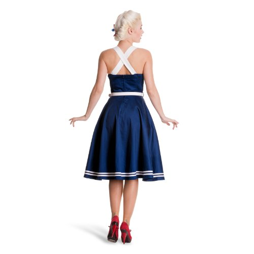 Hell Bunny Damen Kleid SIREN DRESS navy Weiß