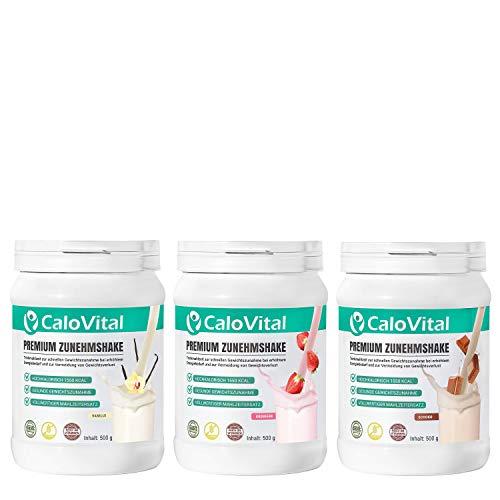 Vollwertiger Mahlzeitenersatz | Kalorien Shake zum zunehmen | mit vielen essentiellen Vitaminen & Mineralstoffen | CaloVital - Premium Qualität aus Deutschland (3er Set Vanille - Erdbeere - Schoko) - Essentielle Nährstoffe