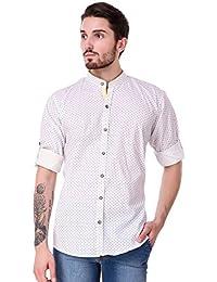 Lafantar Men's Mandarin Collar Casual Printed Shirt (vxt20,White)