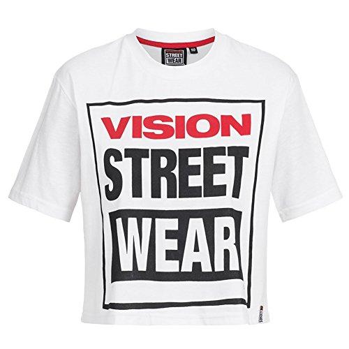 46b44ff069854 Vision Street Wear Damen Fitness Crew Neck Cropped Tee Shirt CL3103 white