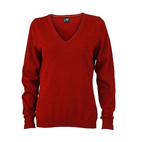Ladies' V-Neck Pullover - taillierter Damen V-Neck Pullover XXL,Bordeaux (Pullover Womens V-neck)