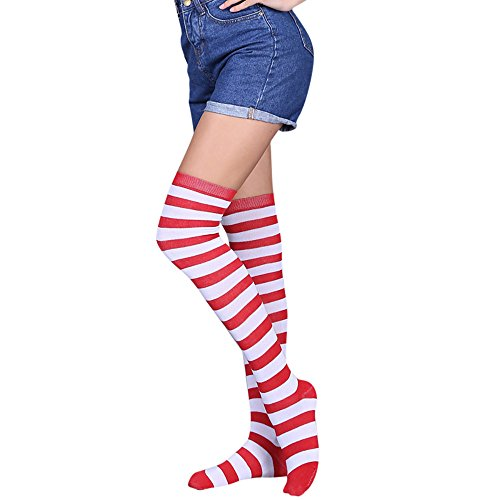 SuperSU Frauen Sexy Regenbogen Oberschenkel hoch über Dem Knie Socken Strümpfe Stockings Langer Über Kniestrümpfen Halloween Cosplay Zusätze für Karnevals Party Stützen Fußball Socks Clown Kostüm (C)