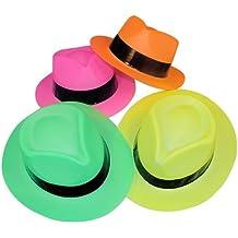 3cf3c87297cc4 Neon Color Plastic Gangster Hats (12 Pack)