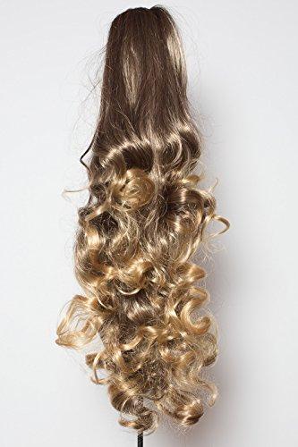 Elegant Hair - 56 cm / 22 pouces queue de cheval frisé – Brun foncé/faits saillants blonde foncé - Clip-in pièce de extensions de cheveux réversible - Avec griffe-clip - 30 Couleurs - 250g