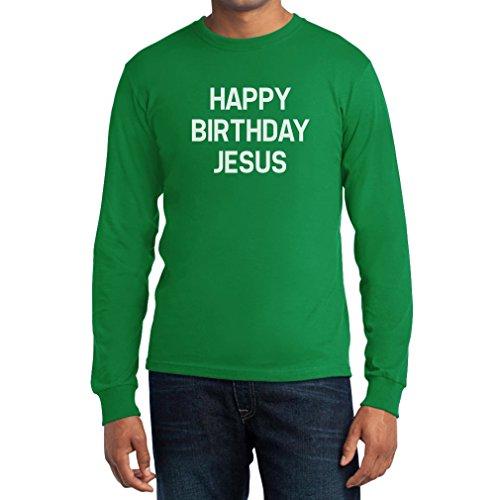 Happy Birthday Jesus Langarm T-Shirt - Mode für Weihnachten Grün