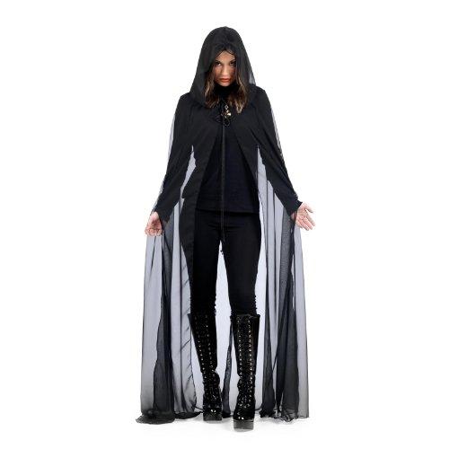 Dark Queen - Mantello con cappuccio nero delicato lungo al pavimento - Ideale per costumi cupi - S