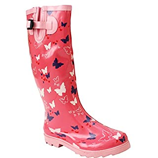 A&H Footwear New Womens Ladies Ajustable Calf Snow Rain Mud Festival Waterproof Wellington Boots Wellies Sizes UK 3-8 (UK 8, Butterfly/Pink)