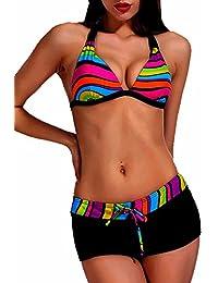 Maillot de bain Femme 2 pièces Shorty Bikini Noir et Multicolore