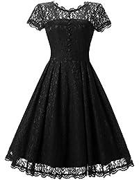 Gigileer Elegant Damen Kleider Spitzenkleid Cocktailkleid Knielanges Vintage 50er Jahr hochzeit Party