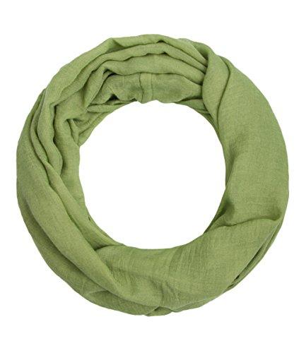 """Majea Loop \""""Alice\"""" schmaler Damen-Schal Loop Frühlingsschal Schlauchschal Rundschal Tuch uni unisex unifarben einfarbig Halstuch (grün)"""