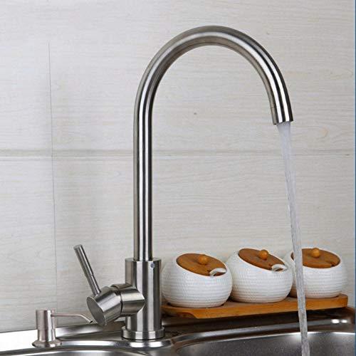Gorheh Gebürstete Spüle Wasserhahn Swivel 360 Mixer Kitchen Basin Armaturen Tap & Soap Dispenser Deck Montiert -