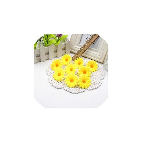 Eternity Bliss Künstliche Blumen 50pcs Kleine Silk Sonnenblume-Kopf-Hochzeit Dekoration, Gelb (Für Partei Mittelstücke Die)