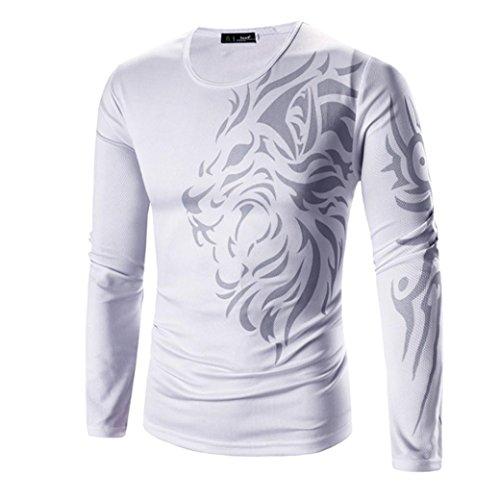 Kobay Herren Mode Druck Langarm T-Shirt (Druck-blouson)