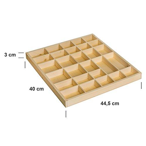 Creative Deco Wall Display Cabinet Shelf Shelves | 28 Compartments | 44.5 x 40 x 3 cm | Wooden Thimble Unpainted Plain Wood | Perfect for Storage, Decoupage & Decoration