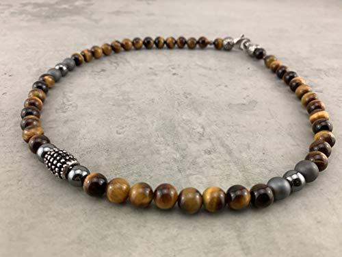 kurze Halskette Kette Perlenkette Tigerauge Spirit für Herren Männer Damen Frauen Schmuck Buddha Surfer Kelten Tibet Business Style Edelstahl K71a
