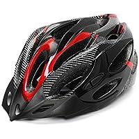 Huai1988 Casco de Ciclismo Para Adultos, Para Hombres Mujeres Casco de Bicicleta Color Negro Mate Ajustable para Adultos Protección de Monopatín Casco de Seguridad Protección de Montaña Unisex Rojo