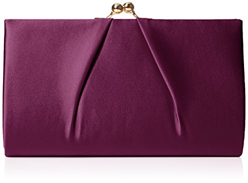 Swanky Swans Damen Mira Satin Classic Frame Bag Clutch, Violett (Purple), 5.1x12x20.8 cm (Frame Clutch Satin Handtasche)