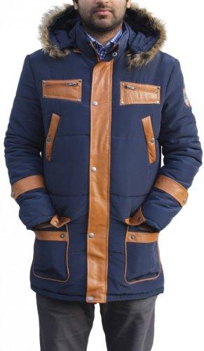 Herren Winterjacke jacke mit aufgenähten Lederstreifen webpelz marin-blau, Größe:XL