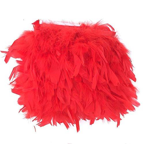 Koplight 2 Yards Natürliche gefärbte Truthahnflocken, Federn, 10,2-15,2 cm Fransenverzierung, DIY Kleid, Basteln, Kostüme, Dekoration rot
